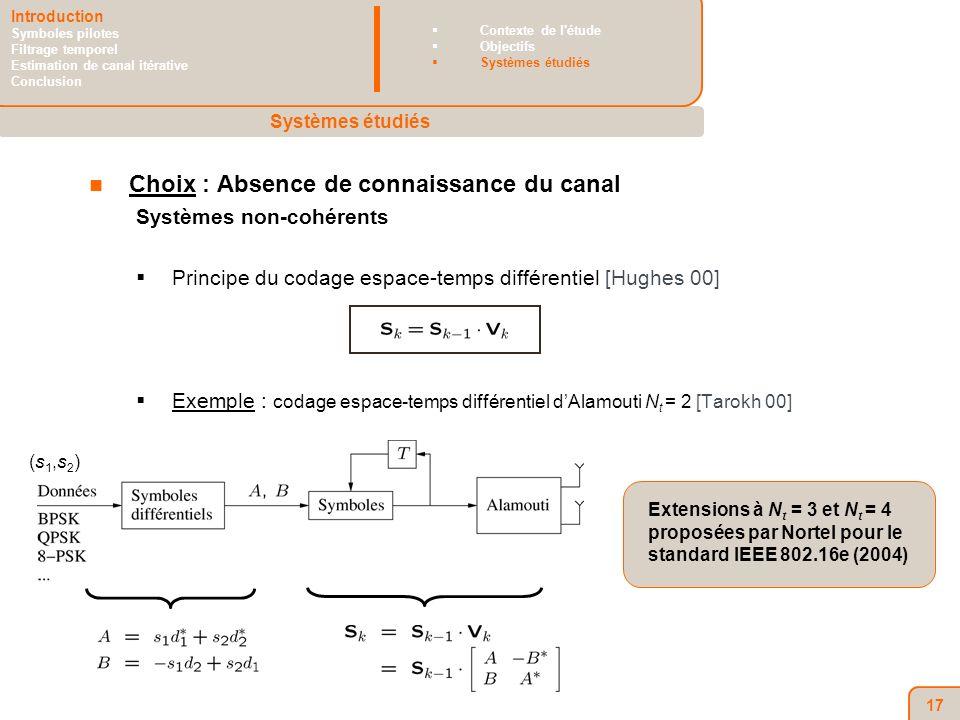 17 Choix : Absence de connaissance du canal Systèmes non-cohérents Principe du codage espace-temps différentiel [Hughes 00] Exemple : codage espace-temps différentiel dAlamouti N t = 2 [Tarokh 00] Systèmes étudiés Introduction Symboles pilotes Filtrage temporel Estimation de canal itérative Conclusion Contexte de l étude Objectifs Systèmes étudiés Extensions à N t = 3 et N t = 4 proposées par Nortel pour le standard IEEE 802.16e (2004) (s1,s2)(s1,s2)