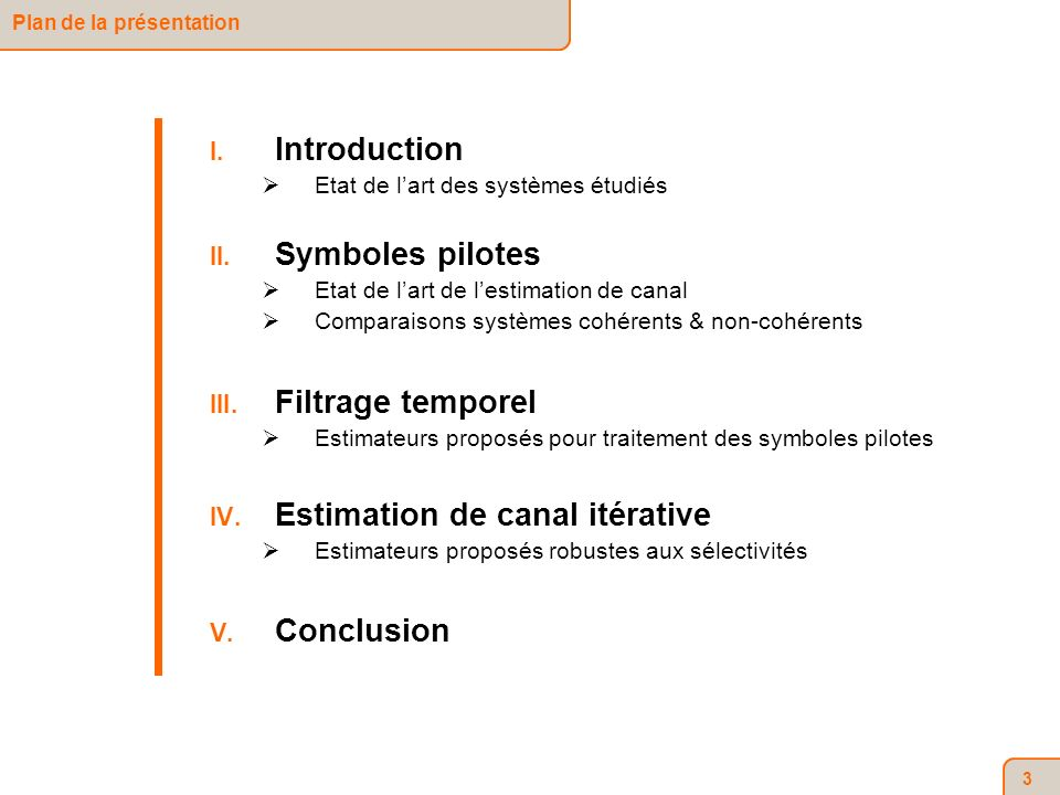 64 Estimateur IFFT FFT (cas SISO : [Doukopoulos 07]) Vecteur des coefficients du sous-canal Tx i Rx j estimés par lalgorithme IFFT FFT avec Estimateurs proposés Introduction Symboles pilotes Filtrage temporel Estimation de canal itérative Conclusion Principes Estimateurs proposés Résultats