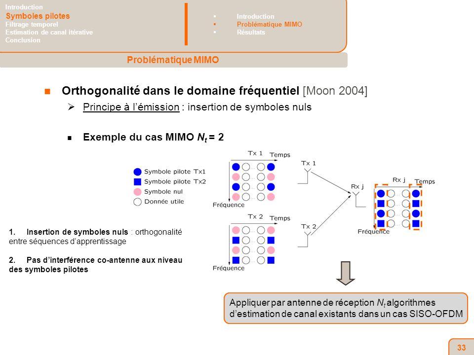 33 Orthogonalité dans le domaine fréquentiel [Moon 2004] Principe à lémission : insertion de symboles nuls Exemple du cas MIMO N t = 2 1.Insertion de symboles nuls : orthogonalité entre séquences dapprentissage 2.Pas dinterférence co-antenne aux niveau des symboles pilotes Appliquer par antenne de réception N t algorithmes destimation de canal existants dans un cas SISO-OFDM Problématique MIMO Introduction Symboles pilotes Filtrage temporel Estimation de canal itérative Conclusion Introduction Problématique MIMO Résultats