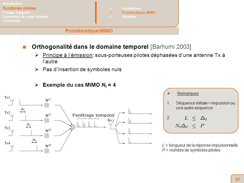 43 Orthogonalité dans le domaine temporel [Barhumi 2003] Principe à lémission: sous-porteuses pilotes déphasées dune antenne Tx à lautre Pas dinsertion de symboles nuls Exemple du cas MIMO N t = 4 Remarques : 1.Séquence initiale = impulsion ou une autre séquence 2.