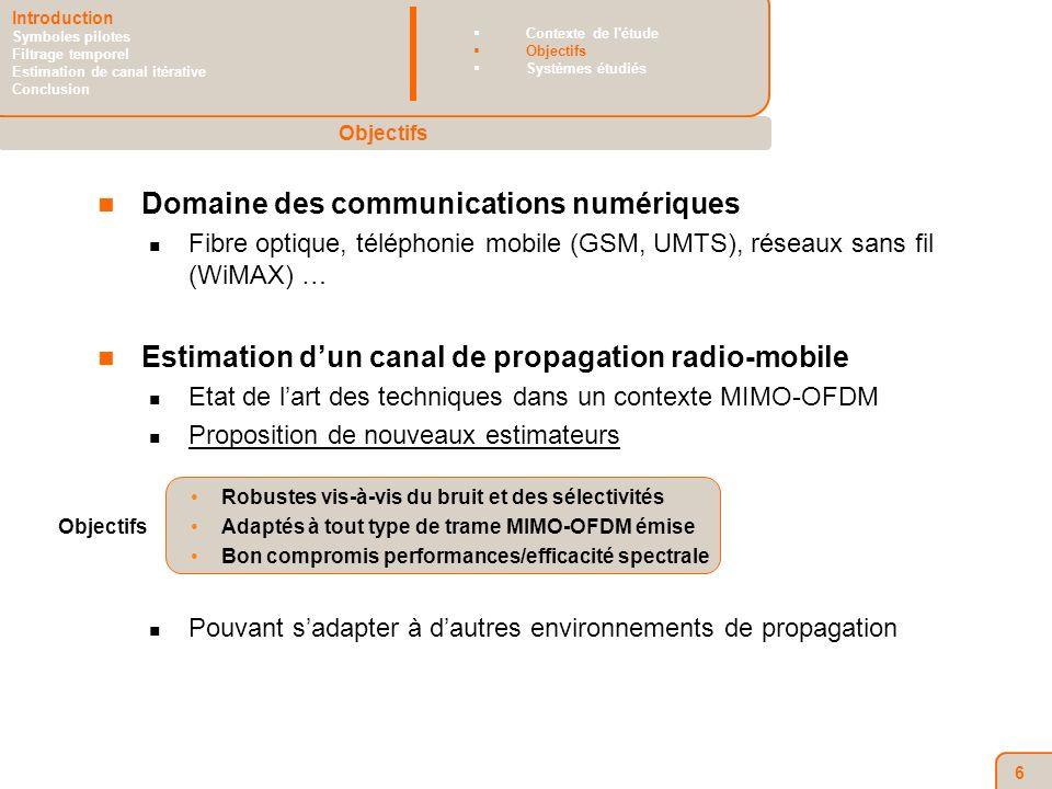 6 Domaine des communications numériques Fibre optique, téléphonie mobile (GSM, UMTS), réseaux sans fil (WiMAX) … Estimation dun canal de propagation radio-mobile Etat de lart des techniques dans un contexte MIMO-OFDM Proposition de nouveaux estimateurs Robustes vis-à-vis du bruit et des sélectivités Adaptés à tout type de trame MIMO-OFDM émise Bon compromis performances/efficacité spectrale Pouvant sadapter à dautres environnements de propagation Objectifs Introduction Symboles pilotes Filtrage temporel Estimation de canal itérative Conclusion Contexte de l étude Objectifs Systèmes étudiés