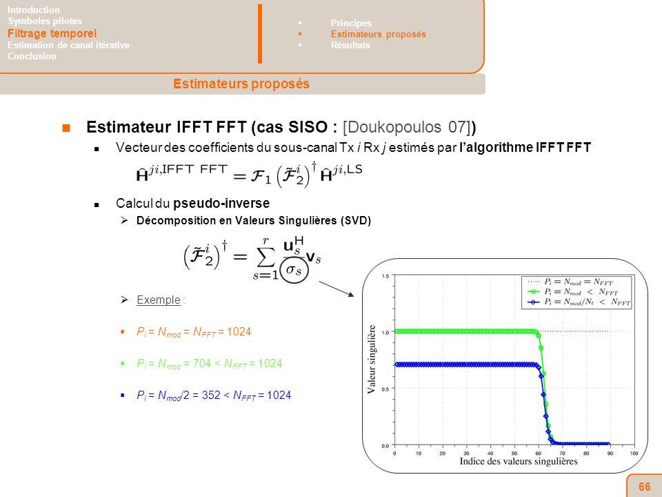 66 Estimateur IFFT FFT (cas SISO : [Doukopoulos 07]) Vecteur des coefficients du sous-canal Tx i Rx j estimés par lalgorithme IFFT FFT Calcul du pseudo-inverse Décomposition en Valeurs Singulières (SVD) Exemple : P i = N mod = N FFT = 1024 P i = N mod = 704 < N FFT = 1024 P i = N mod /2 = 352 < N FFT = 1024 Estimateurs proposés Introduction Symboles pilotes Filtrage temporel Estimation de canal itérative Conclusion Principes Estimateurs proposés Résultats