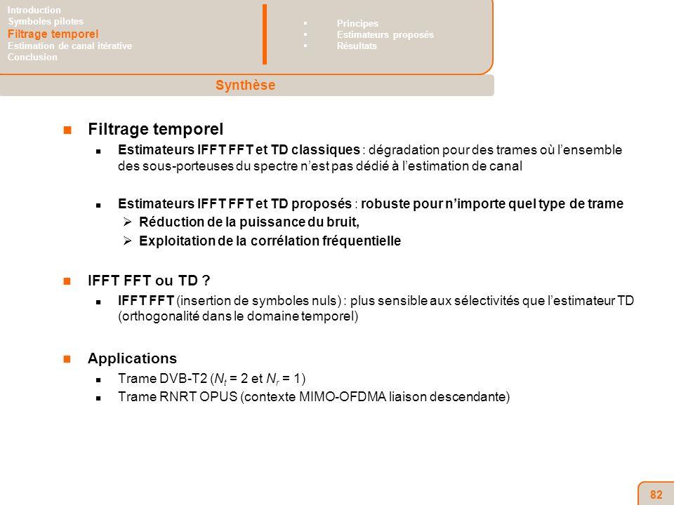 82 Filtrage temporel Estimateurs IFFT FFT et TD classiques : dégradation pour des trames où lensemble des sous-porteuses du spectre nest pas dédié à lestimation de canal Estimateurs IFFT FFT et TD proposés : robuste pour nimporte quel type de trame Réduction de la puissance du bruit, Exploitation de la corrélation fréquentielle IFFT FFT ou TD .