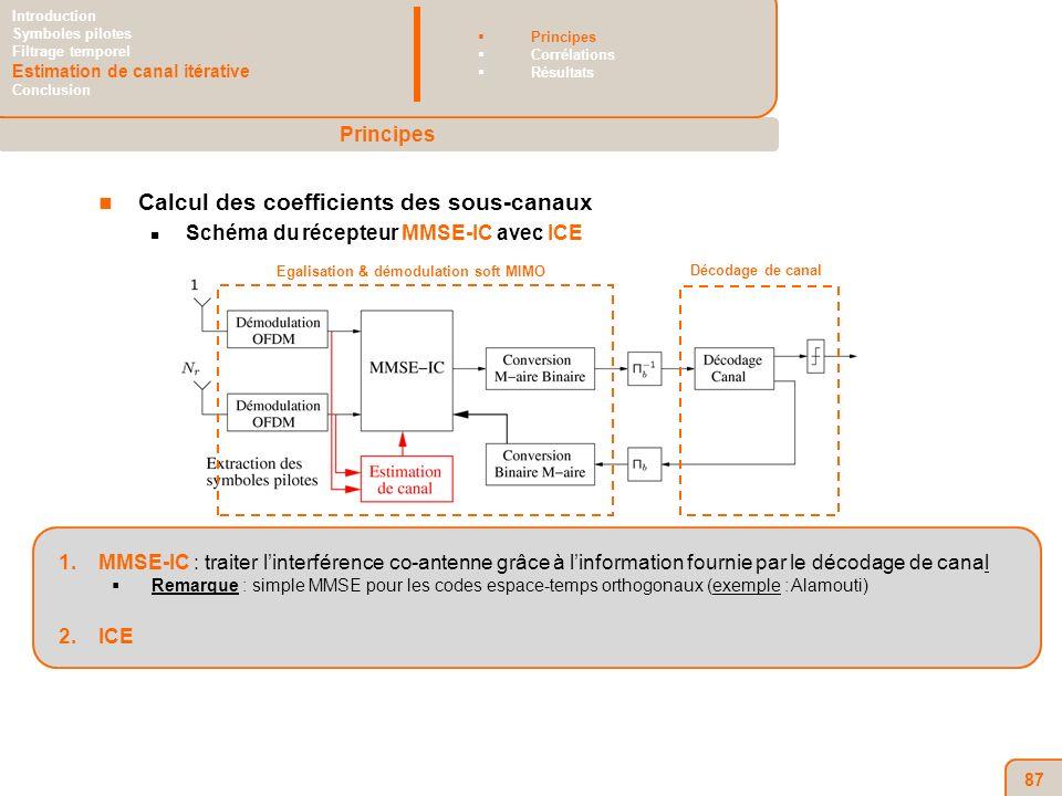 87 Calcul des coefficients des sous-canaux Schéma du récepteur MMSE-IC avec ICE 1.MMSE-IC : traiter linterférence co-antenne grâce à linformation fournie par le décodage de canal Remarque : simple MMSE pour les codes espace-temps orthogonaux (exemple : Alamouti) 2.ICE Egalisation & démodulation soft MIMO Décodage de canal Principes Introduction Symboles pilotes Filtrage temporel Estimation de canal itérative Conclusion Principes Corrélations Résultats