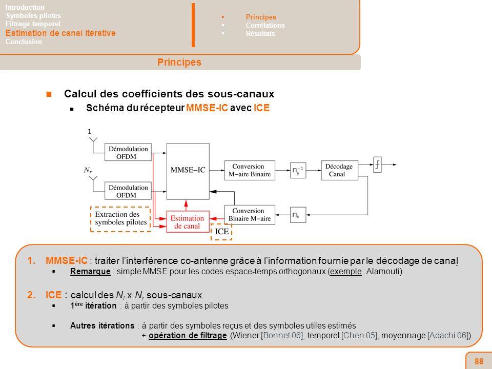 88 Calcul des coefficients des sous-canaux Schéma du récepteur MMSE-IC avec ICE 1.MMSE-IC : traiter linterférence co-antenne grâce à linformation fournie par le décodage de canal Remarque : simple MMSE pour les codes espace-temps orthogonaux (exemple : Alamouti) 2.ICE : calcul des N t x N r sous-canaux 1 ère itération : à partir des symboles pilotes Autres itérations : à partir des symboles reçus et des symboles utiles estimés + opération de filtrage (Wiener [Bonnet 06], temporel [Chen 05], moyennage [Adachi 06]) Principes Introduction Symboles pilotes Filtrage temporel Estimation de canal itérative Conclusion Principes Corrélations Résultats