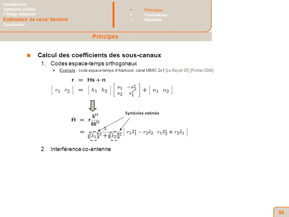 90 Calcul des coefficients des sous-canaux 1.Codes espace-temps orthogonaux Exemple : code espace-temps dAlamouti, canal MIMO 2x1 [Le Ruyet 05] [Portier 2006] 2.Interférence co-antenne Symboles estimés Principes Introduction Symboles pilotes Filtrage temporel Estimation de canal itérative Conclusion Principes Corrélations Résultats