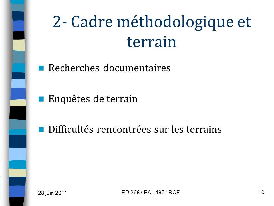 2- Cadre méthodologique et terrain Recherches documentaires Enquêtes de terrain Difficultés rencontrées sur les terrains 28 juin 2011 ED 268 / EA 1483