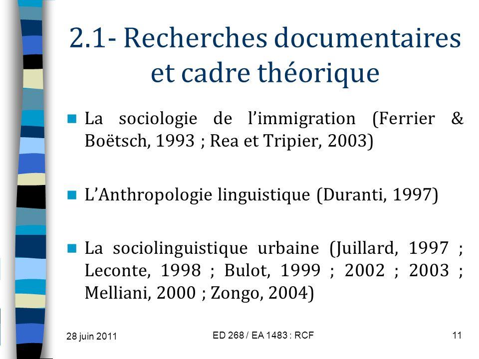 2.1- Recherches documentaires et cadre théorique La sociologie de limmigration (Ferrier & Boëtsch, 1993 ; Rea et Tripier, 2003) LAnthropologie linguis