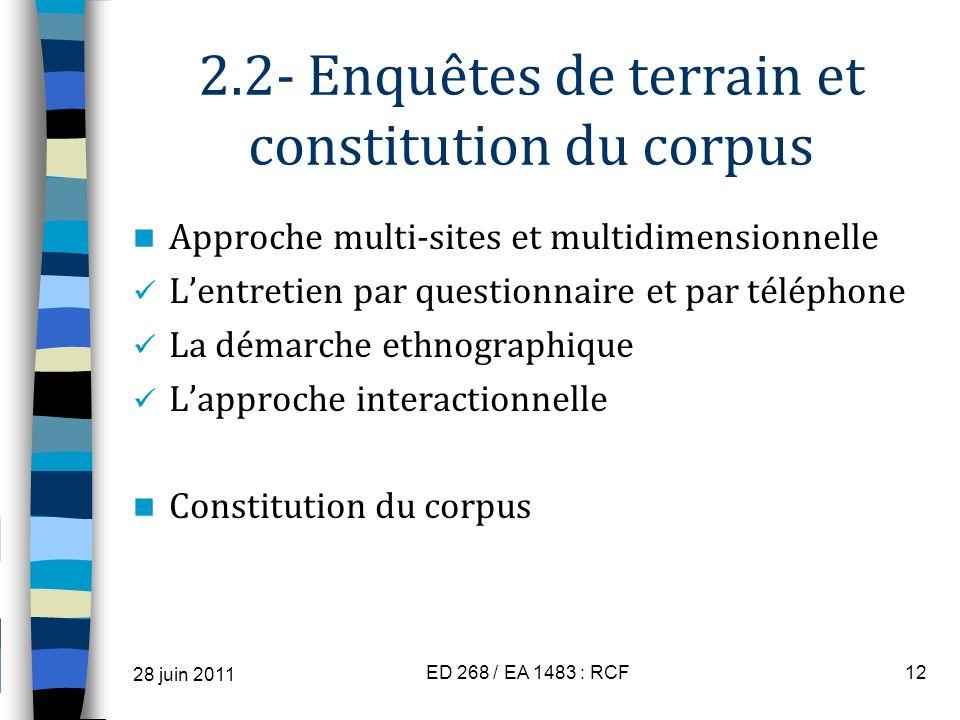 2.2- Enquêtes de terrain et constitution du corpus Approche multi-sites et multidimensionnelle Lentretien par questionnaire et par téléphone La démarc