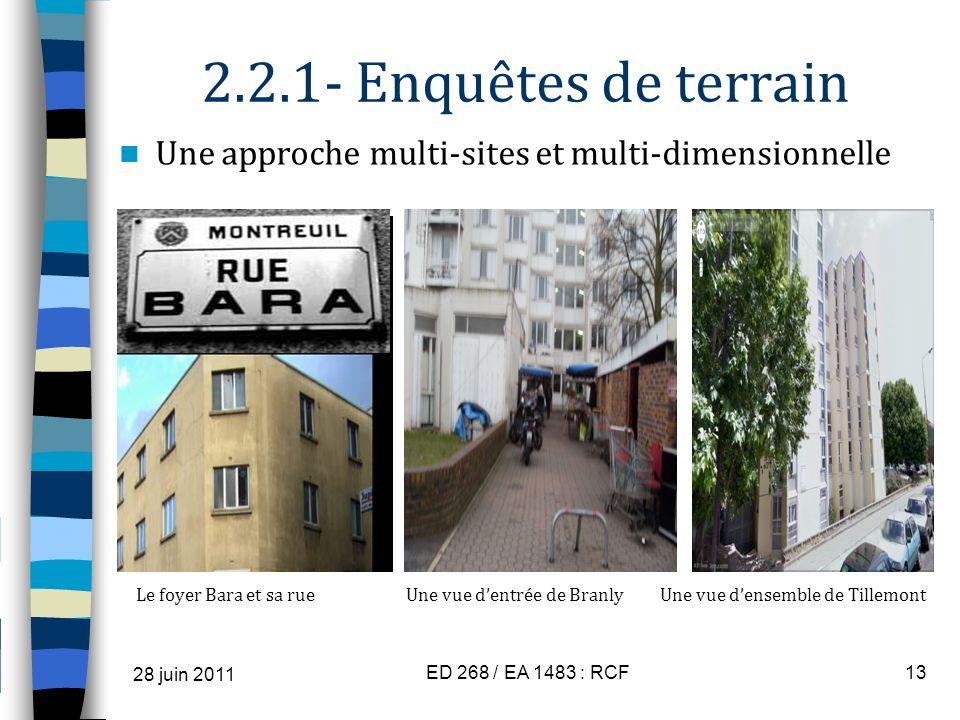 2.2.1- Enquêtes de terrain Une approche multi-sites et multi-dimensionnelle Le foyer Bara et sa rue Une vue dentrée de Branly Une vue densemble de Til