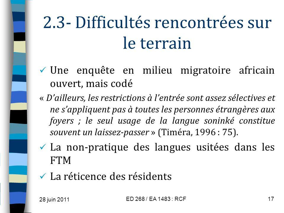 2.3- Difficultés rencontrées sur le terrain Une enquête en milieu migratoire africain ouvert, mais codé « Dailleurs, les restrictions à lentrée sont a