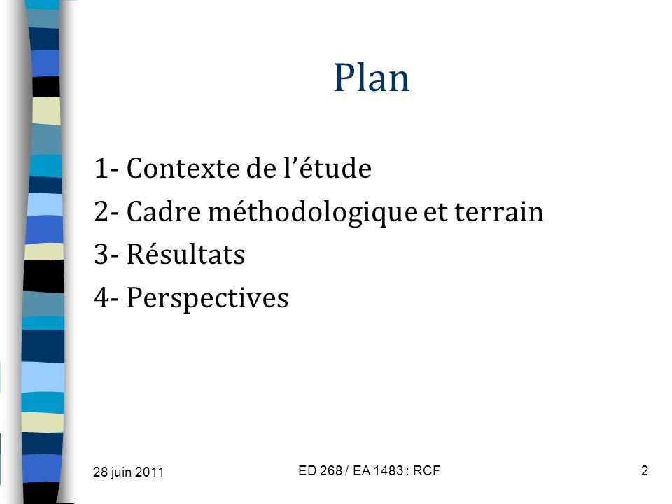 Plan 1- Contexte de létude 2- Cadre méthodologique et terrain 3- Résultats 4- Perspectives 28 juin 2011 ED 268 / EA 1483 : RCF2