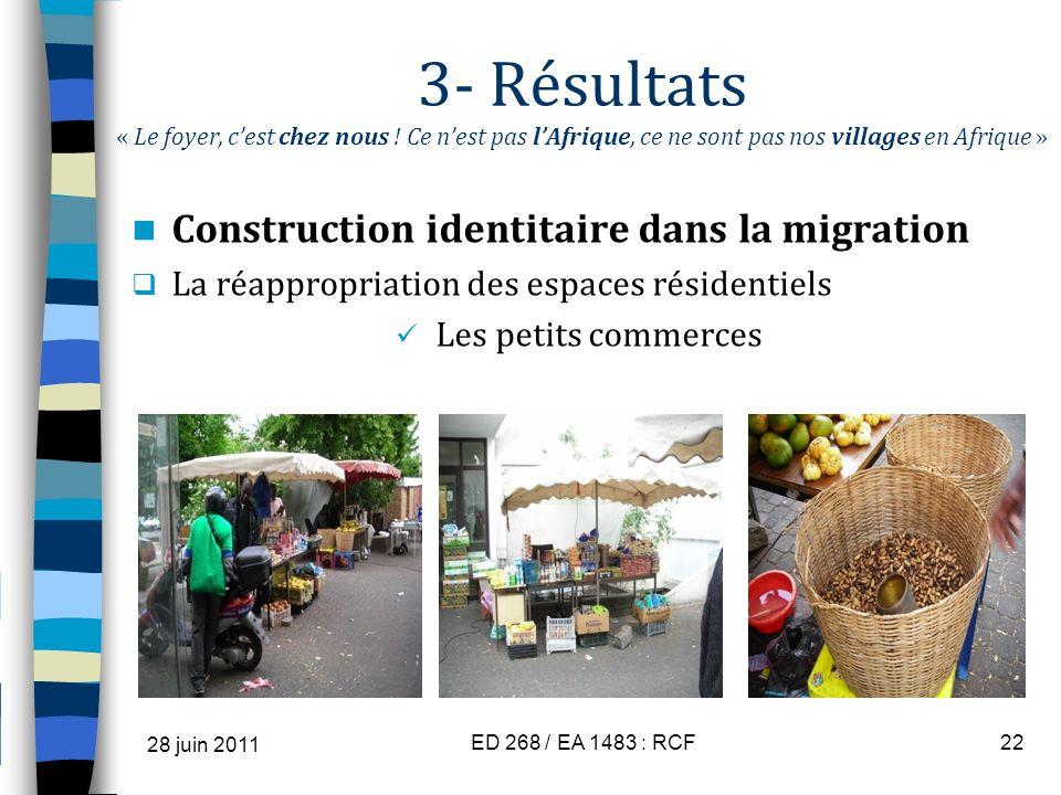3- Résultats « Le foyer, cest chez nous ! Ce nest pas lAfrique, ce ne sont pas nos villages en Afrique » Construction identitaire dans la migration La