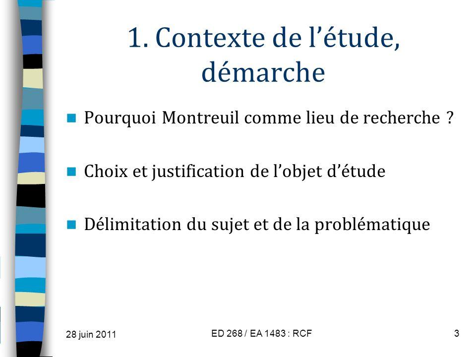 1. Contexte de létude, démarche Pourquoi Montreuil comme lieu de recherche ? Choix et justification de lobjet détude Délimitation du sujet et de la pr
