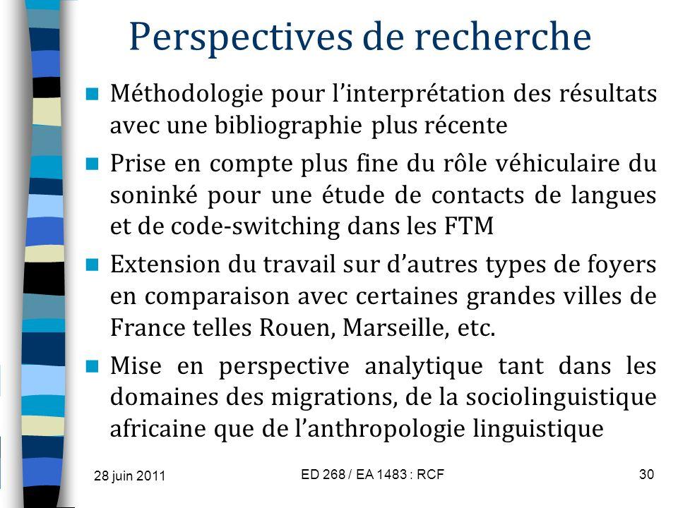 Perspectives de recherche Méthodologie pour linterprétation des résultats avec une bibliographie plus récente Prise en compte plus fine du rôle véhicu