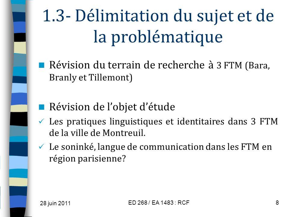 1.3- Délimitation du sujet et de la problématique Révision du terrain de recherche à 3 FTM (Bara, Branly et Tillemont) Révision de lobjet détude Les p