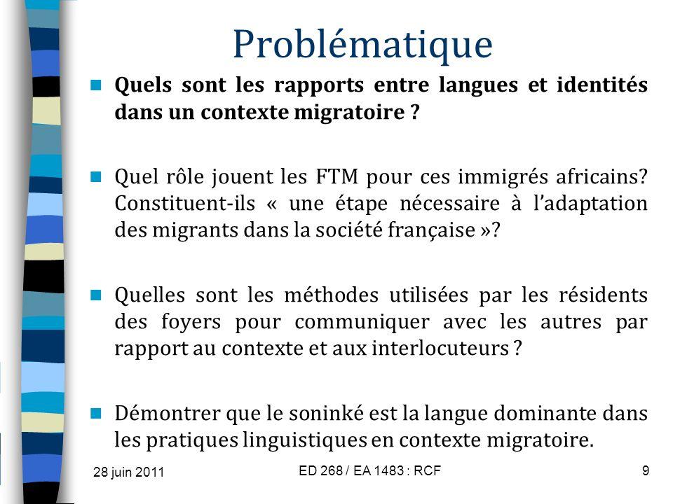 Problématique Quels sont les rapports entre langues et identités dans un contexte migratoire ? Quel rôle jouent les FTM pour ces immigrés africains? C