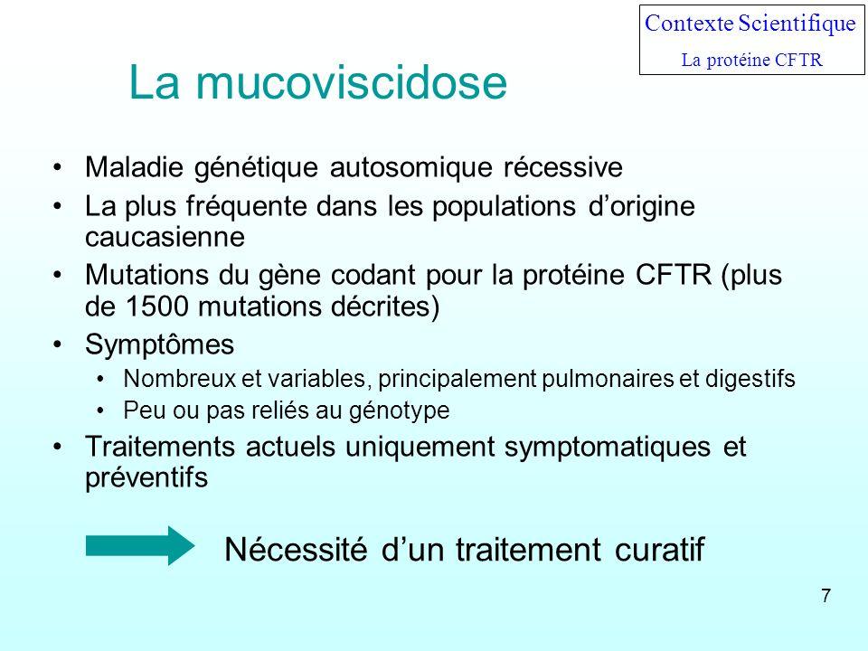 La mucoviscidose Maladie génétique autosomique récessive La plus fréquente dans les populations dorigine caucasienne Mutations du gène codant pour la