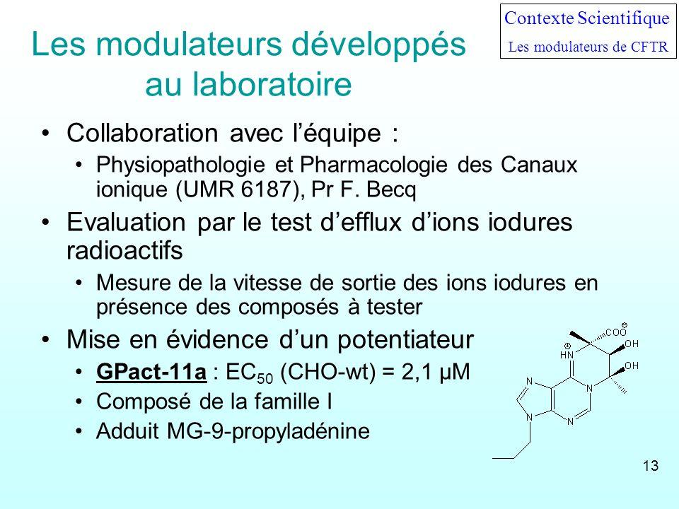 Les modulateurs développés au laboratoire Collaboration avec léquipe : Physiopathologie et Pharmacologie des Canaux ionique (UMR 6187), Pr F. Becq Eva