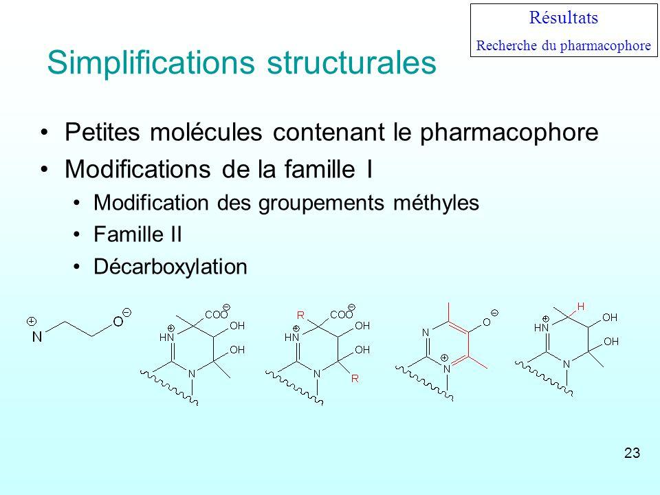 Simplifications structurales Petites molécules contenant le pharmacophore Modifications de la famille I Modification des groupements méthyles Famille