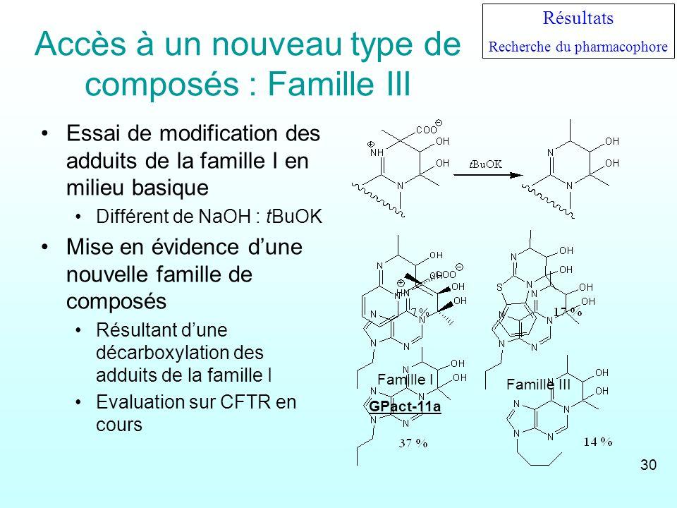 Accès à un nouveau type de composés : Famille III Essai de modification des adduits de la famille I en milieu basique Différent de NaOH : tBuOK Mise e