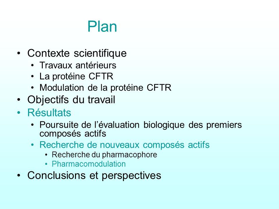 Plan Contexte scientifique Travaux antérieurs La protéine CFTR Modulation de la protéine CFTR Objectifs du travail Résultats Poursuite de lévaluation