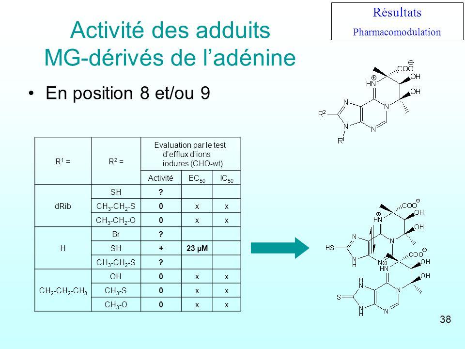 Activité des adduits MG-dérivés de ladénine En position 8 et/ou 9 R 1 =R 2 = Evaluation par le test defflux dions iodures (CHO-wt) ActivitéEC 50 IC 50