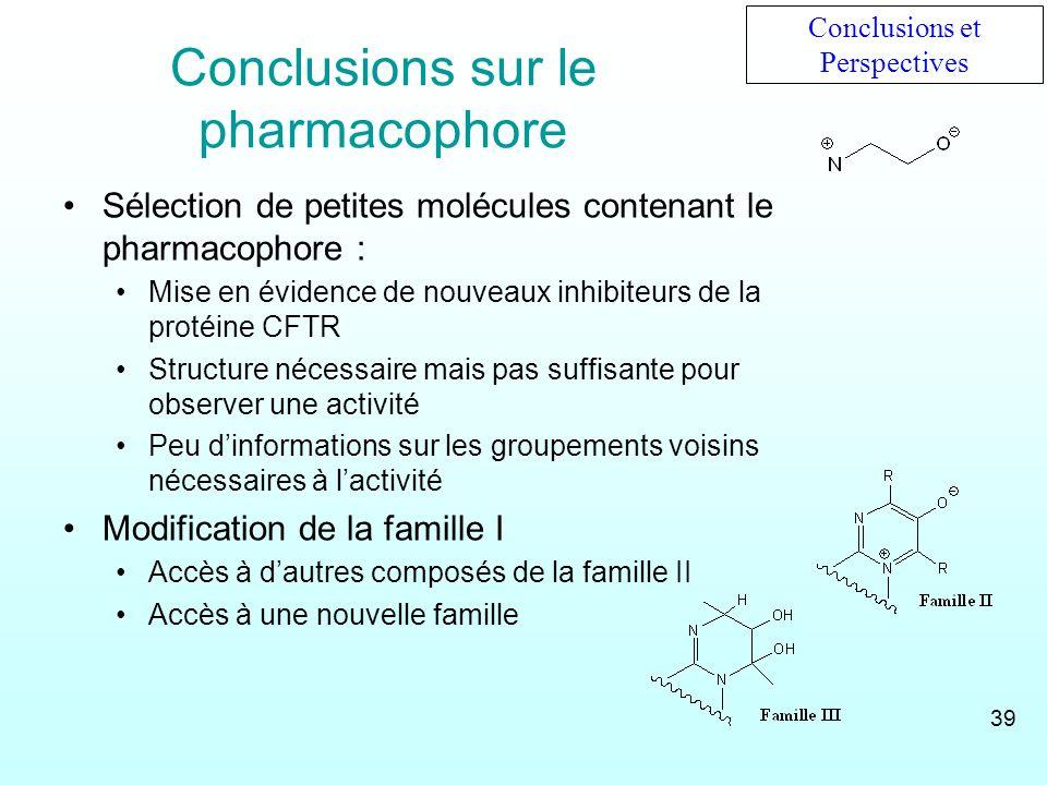 Conclusions sur le pharmacophore Sélection de petites molécules contenant le pharmacophore : Mise en évidence de nouveaux inhibiteurs de la protéine C
