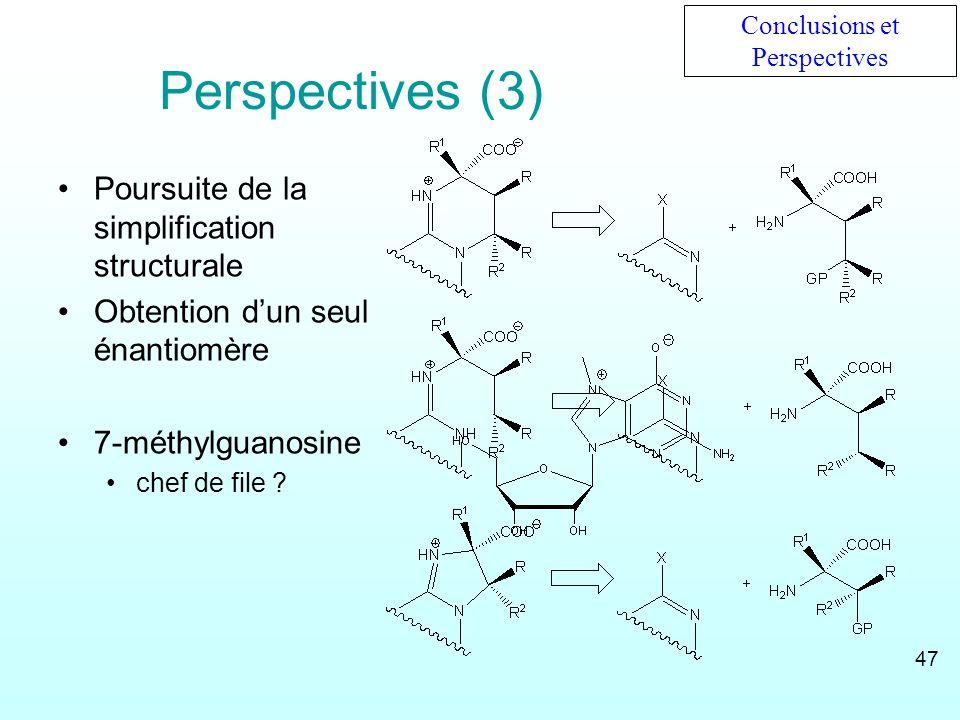 Perspectives (3) Poursuite de la simplification structurale Obtention dun seul énantiomère 7-méthylguanosine chef de file ? Conclusions et Perspective