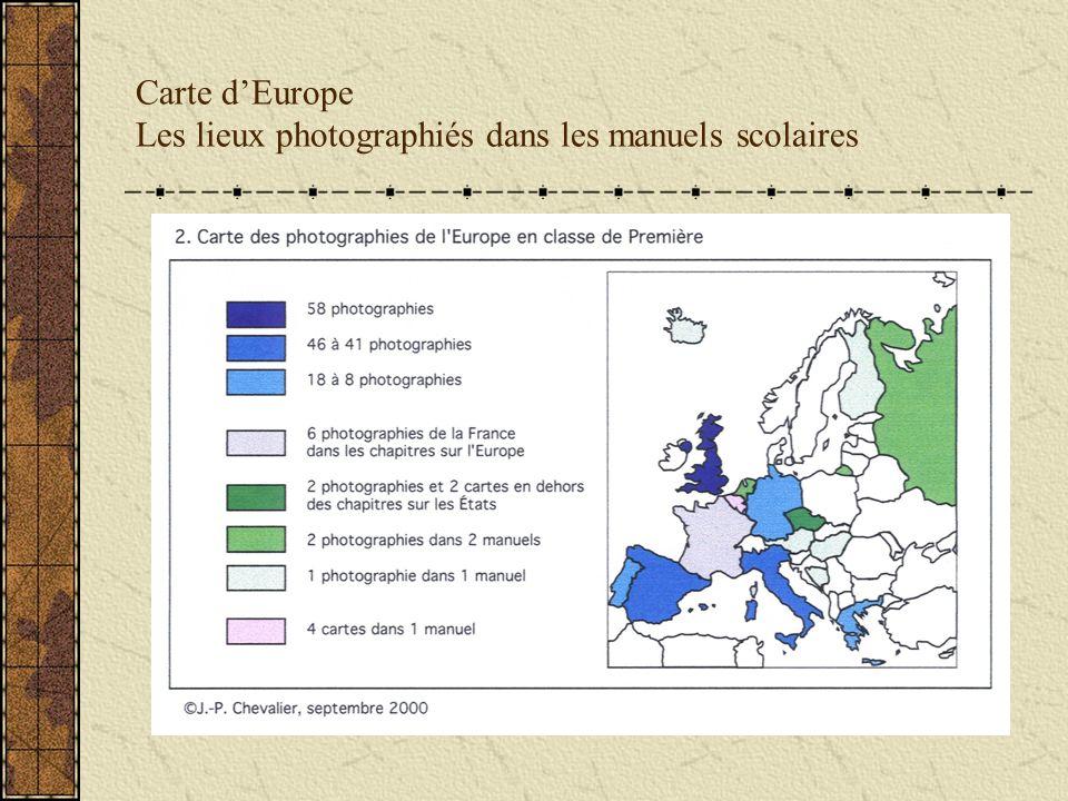 Carte dEurope Les lieux photographiés dans les manuels scolaires