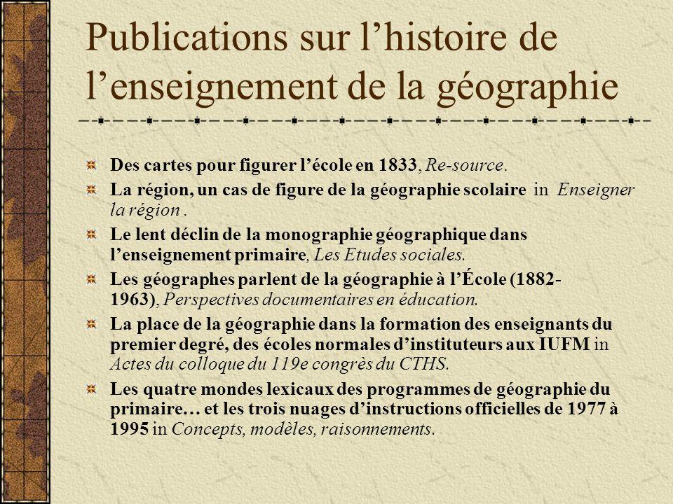 Publications sur lhistoire de lenseignement de la géographie Des cartes pour figurer lécole en 1833, Re source.