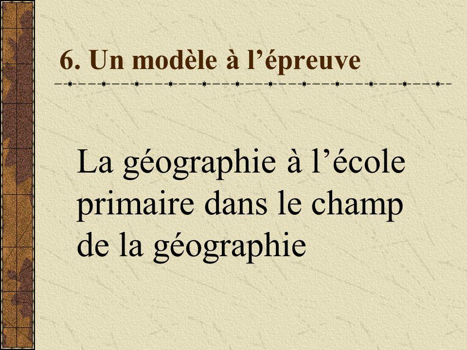 6. Un modèle à lépreuve La géographie à lécole primaire dans le champ de la géographie