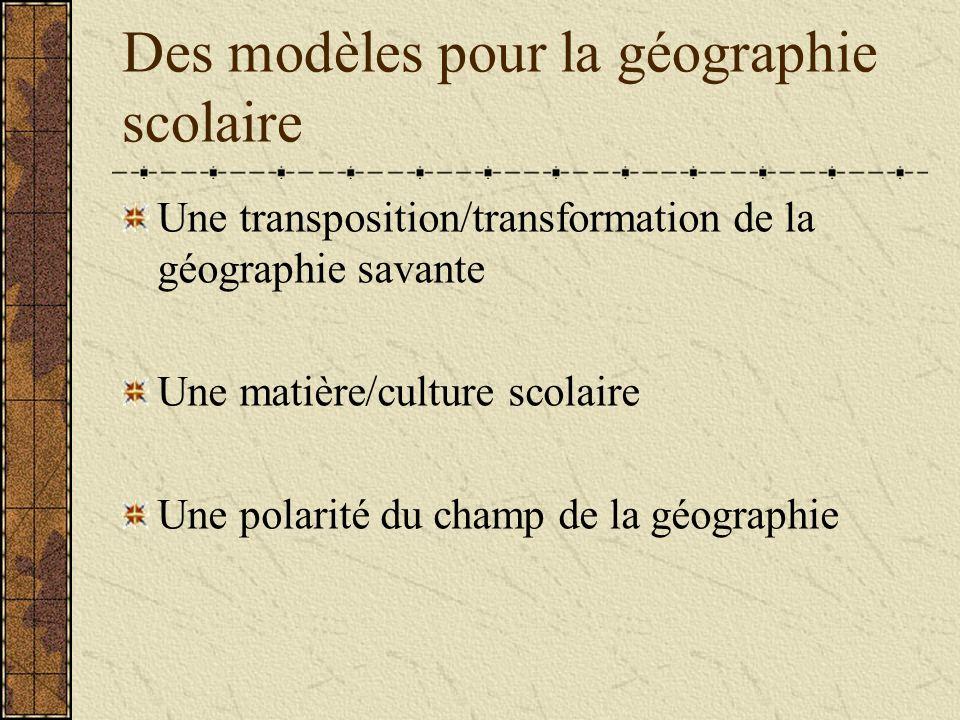 Des modèles pour la géographie scolaire Une transposition/transformation de la géographie savante Une matière/culture scolaire Une polarité du champ de la géographie