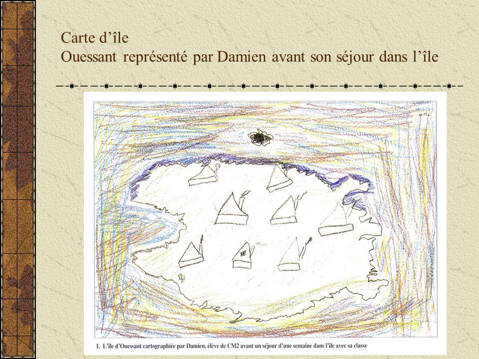 Carte dîle Ouessant représenté par Damien avant son séjour dans lîle