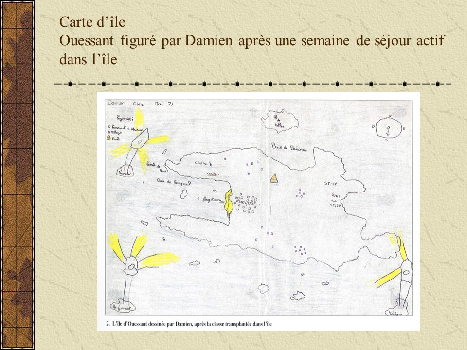 Carte dîle Ouessant figuré par Damien après une semaine de séjour actif dans lîle