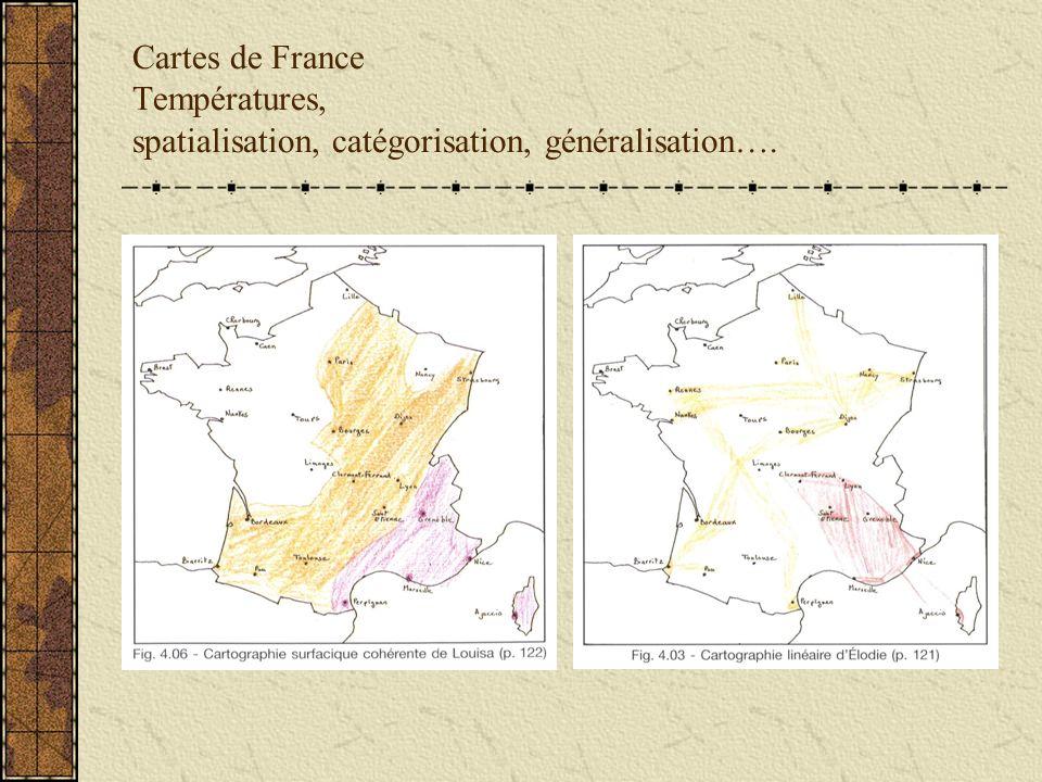Cartes de France Températures, spatialisation, catégorisation, généralisation….
