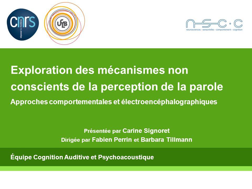 Carine Signoret 10/06/2010 2 Plan Introduction Partie 1 : Exploration de linfluence des connaissances sur la perception auditive Partie 2 : Processus activés suite à une perception auditive non consciente Discussion et Perspectives 1