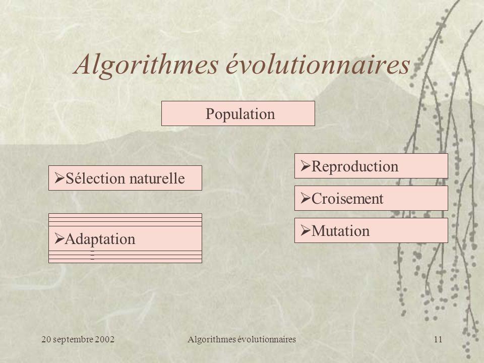 20 septembre 2002Algorithmes évolutionnaires11 Mutation Croisement Reproduction Population Algorithmes évolutionnaires Sélection naturelle Objectif Adaptation Objectif Adaptation Objectif Adaptation