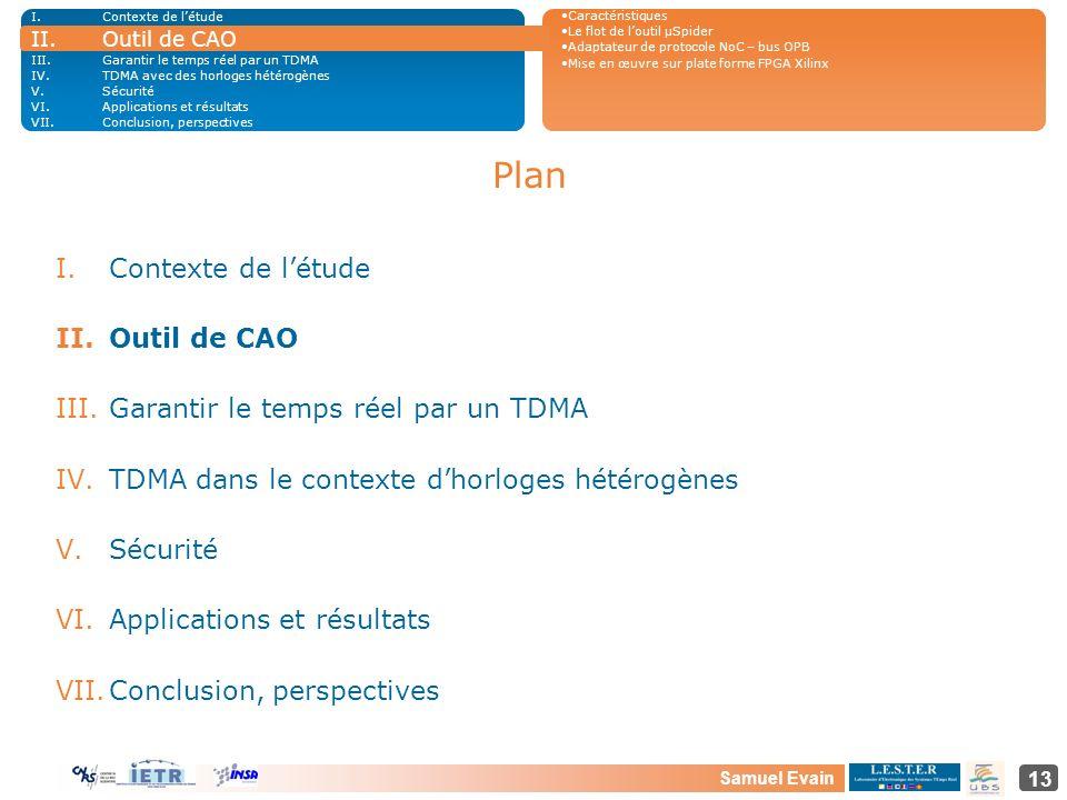 Samuel Evain 13 Plan I.Contexte de létude II.Outil de CAO III.Garantir le temps réel par un TDMA IV.TDMA dans le contexte dhorloges hétérogènes V.Sécu