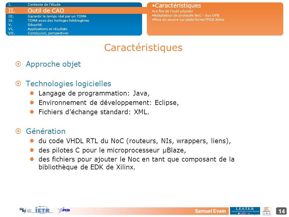 Samuel Evain 14 Caractéristiques ¤Approche objet ¤Technologies logicielles Langage de programmation: Java, Environnement de développement: Eclipse, Fi