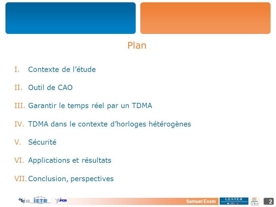 Samuel Evain 2 Plan I.Contexte de létude II.Outil de CAO III.Garantir le temps réel par un TDMA IV.TDMA dans le contexte dhorloges hétérogènes V.Sécur