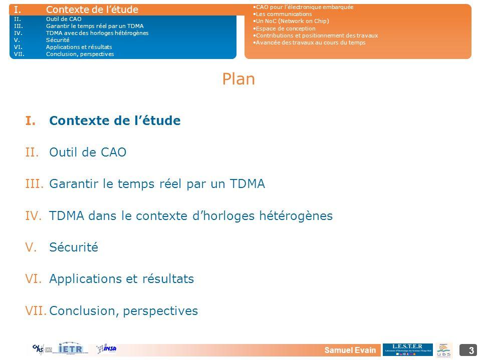 Samuel Evain 3 Plan I.Contexte de létude II.Outil de CAO III.Garantir le temps réel par un TDMA IV.TDMA dans le contexte dhorloges hétérogènes V.Sécur