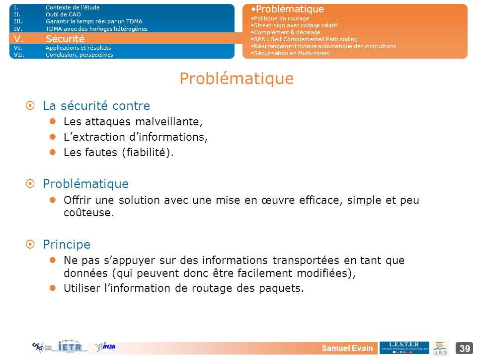 Samuel Evain 39 Problématique ¤La sécurité contre Les attaques malveillante, Lextraction dinformations, Les fautes (fiabilité). ¤Problématique Offrir