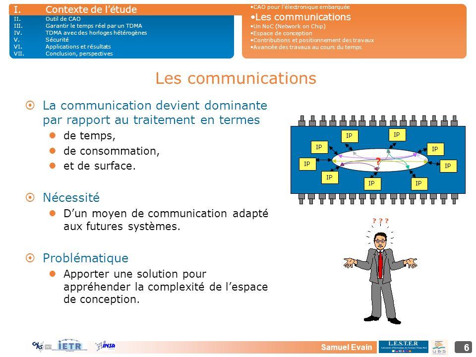 Samuel Evain 6 Les communications ¤La communication devient dominante par rapport au traitement en termes de temps, de consommation, et de surface. ¤N