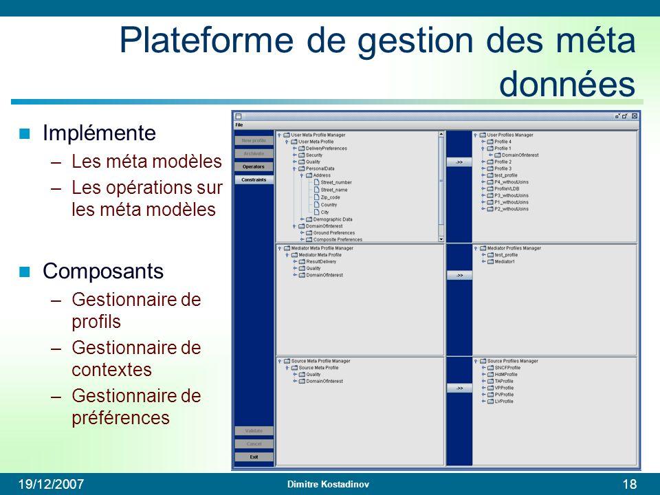 Dimitre Kostadinov 19/12/200718 Plateforme de gestion des méta données Implémente –Les méta modèles –Les opérations sur les méta modèles Composants –G