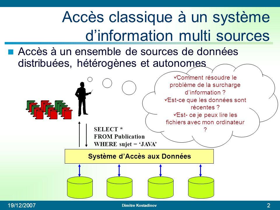 Dimitre Kostadinov 19/12/20072 Système dAccès aux Données Accès classique à un système dinformation multi sources Accès à un ensemble de sources de do