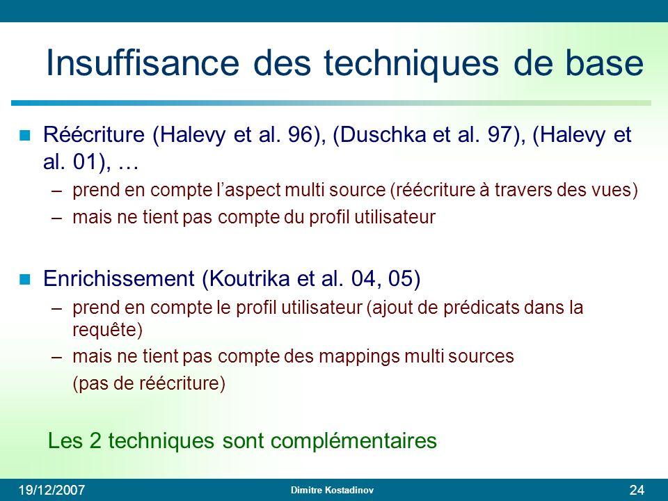 Dimitre Kostadinov 19/12/200724 Insuffisance des techniques de base Réécriture (Halevy et al. 96), (Duschka et al. 97), (Halevy et al. 01), … –prend e