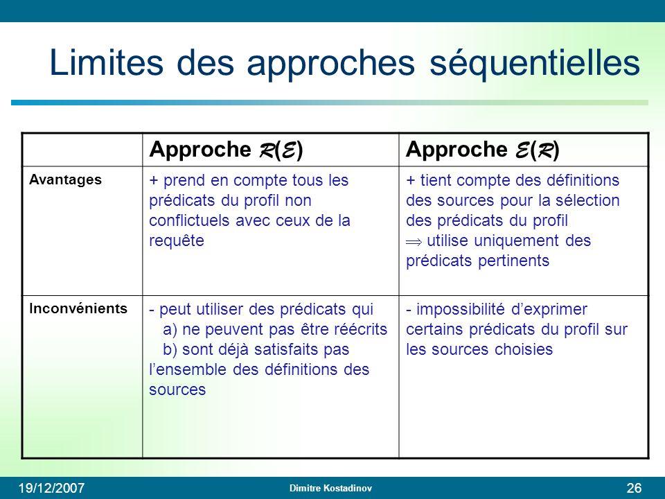 Dimitre Kostadinov 19/12/200726 Limites des approches séquentielles Approche R ( E )Approche E ( R ) Avantages + prend en compte tous les prédicats du