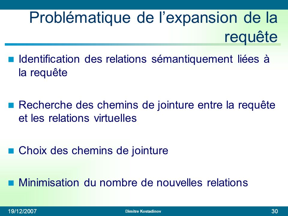 Dimitre Kostadinov 19/12/200730 Problématique de lexpansion de la requête Identification des relations sémantiquement liées à la requête Recherche des
