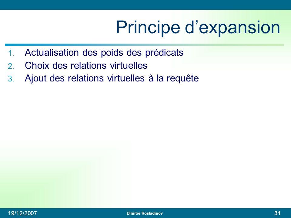 Dimitre Kostadinov 19/12/200731 Principe dexpansion 1. Actualisation des poids des prédicats 2. Choix des relations virtuelles 3. Ajout des relations
